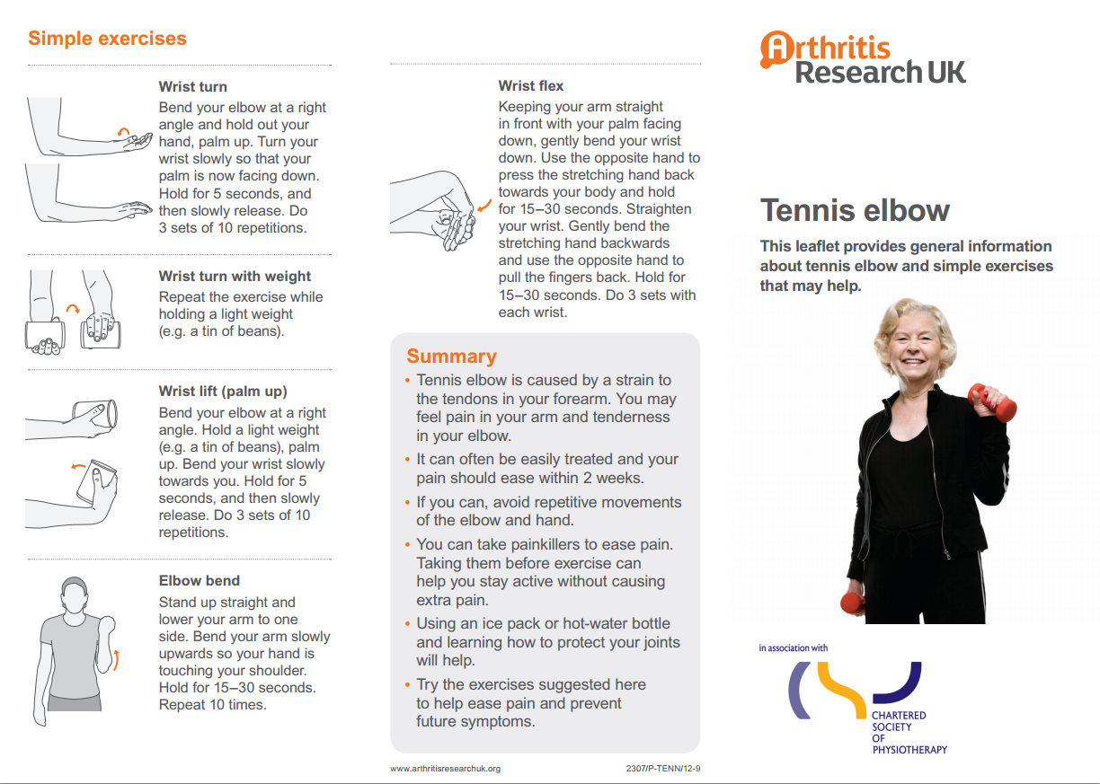 Tennis Elbow Exercise Sheet Sussex Msk Partnership East